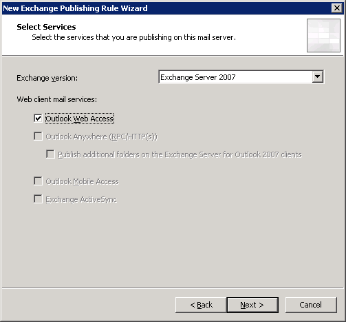 Outlook Web Access Publishing