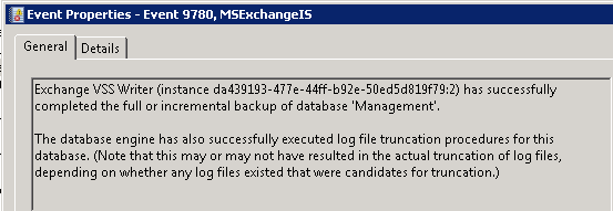 MSExchangeIS Event ID 9780 - Backup complete