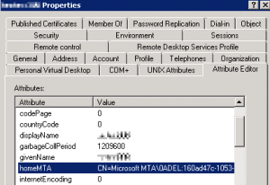 homeMTA points to a deleted server value - CN=Microsoft MTA\0DEL: