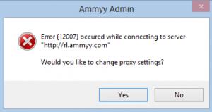 Ammy Admin Error 12007 Windows 8