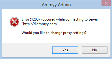 Ammy Admin Error 12007 Windows 8